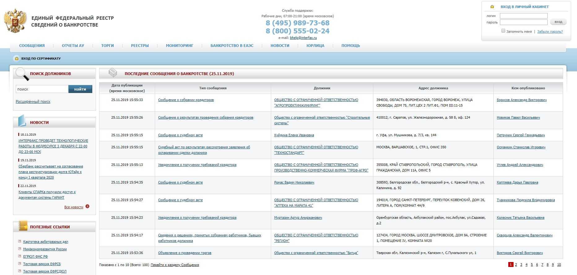 информация о банкротстве юридических лиц